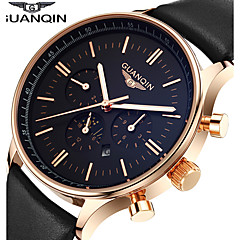 Men's Dress Watch Fashion Watch Wrist watch Quartz Japanese Quartz Calendar Water Resistant / Water Proof Moon Phase Luminous Leather Band