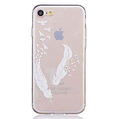 Til iPhone X iPhone 8 iPhone 7 iPhone 7 Plus iPhone 6 Etuier Transparent Præget Mønster Bagcover Etui Fjer Blødt TPU for Apple iPhone X