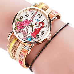 Women's Cool Quartz Fashion Casual Watch PU Belt Bracelet Round Alloy Multi-colored Beautiful Dial Watch Unique Watch Strap Watch