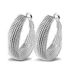 Fine 925 Silver Pierced Hoop Stud Earrings for Women4.2*3.2)