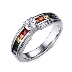 Unisex Fashion Personality 316L Titanium Steel Rainbow Rhinestone Ring Casual/Daily/Party Women And Men Accessory