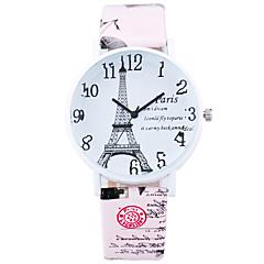 Women's Fashion Cool Quartz Casual Watch Leather Belt Eiffel Tower Round Alloy Dial Watch Unique Watch