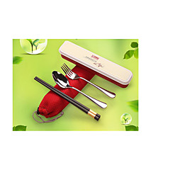 Outdoor Portable Stainless Steel Tableware Three-Piece Fitted Alloy Chopsticks Spoon Fork Chopsticks