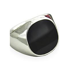 Miesten Tyylikkäät sormukset Safiiri Gemstone Black Personoitu pukukorut Muoti Vintage Punk-tyyli minimalistisesta Gemstone Metalliseos