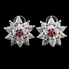 Earrings Jewelry Women Zircon Star  Christmas Snowflake Earrings Clip Earrings