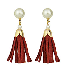 Fashion Multicolors Pu Leather Tassel Earrings