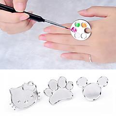 söt palett nagel konst metall finger ring blandar akryl gel polish målning ritning färg målar maträtt manikyr verktyg