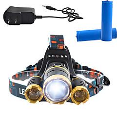 Világítás Fejlámpák LED 3000 Lumens Lumen 4.0 Mód Cree T6 18650 Tompítható / Újratölthető / Ferde extruderfej / Szuper könnyű