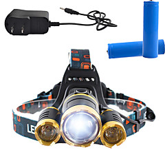 Luci Torce frontali LED 3000 Lumens Lumens 4.0 Modo Cree T6 18650 Dimmerabile / Ricaricabile / Angolare / Ultraleggero