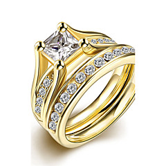 316L stainless steel Golden CZ Diamond Engagement Ring fashion jewelry for women size 6 # 7 # 8 # 9 # Top Quality