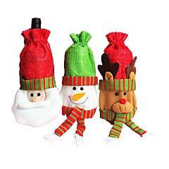 3PCS 크리스마스 와인 병 와인 병 와인 병 레드 와인 레드 와인 레드 와인 크리스마스 장식 (스타일 랜덤)