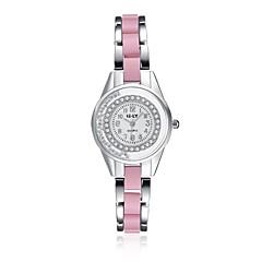 아가씨들 패션 시계 팔찌 시계 캐쥬얼 시계 방수 스톱워치 석영 합금 밴드 참 캐쥬얼 우아한 핑크