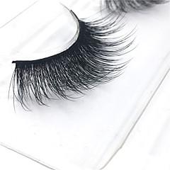 3D Eyelashes lash Full Strip Lashes Eyes Thick Lifted lashes / Volumized Handmade Fiber Black Band 0.07mm