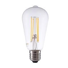 6W E27 LED Filament Bulbs ST64 4 COB 600 lm Warm White Dimmable / Decorative AC 220-240 V 1 pcs