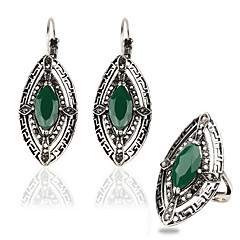 Jewelry Set AAA Cubic Zirconia Vintage Victorian Luxury Gemstone Geometric Green 1 Pair of Earrings 1 Ring For Casual 1set Wedding Gifts
