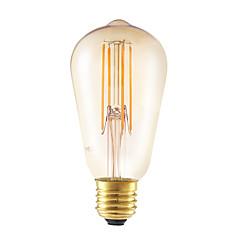 6W E27 LED Filament Bulbs ST58LF 4 COB 550 lm Amber Dimmable / Decorative AC 220-240 V 1 pcs