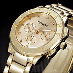 Mujer Reloj de Moda Reloj de Pulsera Cuarzo Brillante Acero Inoxidable Banda Cool Plata Dorado Marca