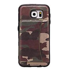 Mert Kártyatartó / Állvánnyal Case Hátlap Case Álcázás Kemény Műbőr Samsung S7 edge / S7 / S6 edge / S6