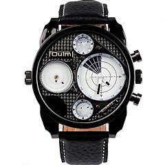 Men's Wrist watch Quartz Dual Time Zones Leather Band Cool Casual Black Brand