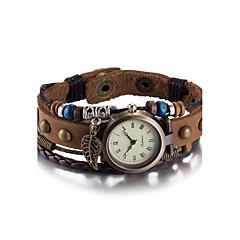 Unisex Fashion Watch Wrist watch Bracelet Watch Quartz Water Resistant / Water Proof Leather Band Vintage Bohemian Bangle Brown Strap Watch