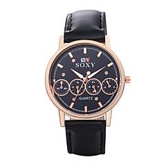 Men's Unisex Dress Watch Fashion Watch Wrist watch Water Resistant / Water Proof Quartz Leather Band Black