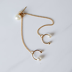 Women Fashion Beauty Imitation Pearl Tassel Chain Ear Clip Earrings 1pc Gold