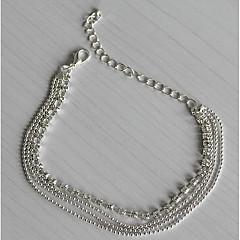 Dame Ankel/Armbånd Sølvbelagt Simuleret diamant Mode Europæisk Flerlags Smykker Til Daglig Afslappet