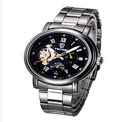 Tevise Męskie Damskie Dla par Sportowy Szkieletowy Modny zegarek mechaniczny Kalendarz Wodoszczelny Świecący SrebrzystyKwarcowy