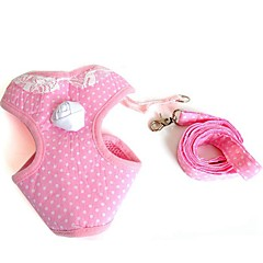 Lovely Pink Lace Collar Harness with Leash for Pets Dogs(Assorted Sizes)