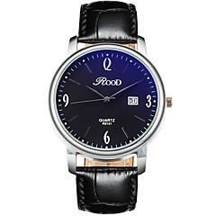 Hombre Reloj de Pulsera Cuarzo Calendario Cuero Auténtico Banda Cool Casual Negro Blanco Negro