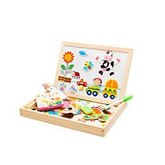 puzzle-uri Jucării Magnet Jucării Educaționale Puzzle Blocuri de pereti DIY Jucarii Pasăre Porc Trandafiri Soare Autobuz Lemn