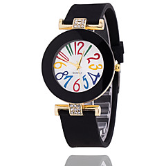 Dames Modieus horloge Armbandhorloge Kwarts Silicone Band Vintage VrijetijdsschoenenZwart Wit Blauw Rood Bruin Groen Roze Marineblauw