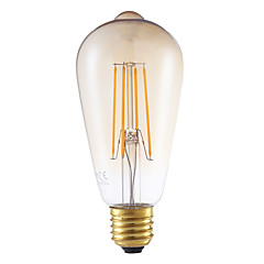 4W E27 LED Filament Bulbs ST64LF 4 COB 350 lm Amber Dimmable / Decorative AC 220-240 V 1 pcs