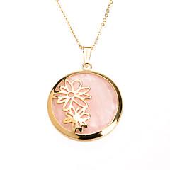 édes rózsaszín akril betéttel 316L rozsdamentes acélból készült százszorszép medál nyaklánc