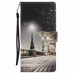 Til Sony xperia xa ultra x performance case cover city sceneri malet lanyard pu telefon sag