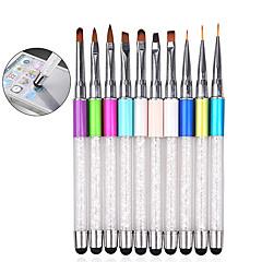 1pcs Rhinestone Nail Art Brush Pen Screen Touchable Quartz Metal Acrylic Handle Carving Salon DIY Liner Manicure Tools
