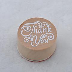 vintage floral μοτίβο λέξη στρογγυλό ξύλινο σφραγίδα (ευχαριστώ)