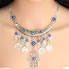 Damskie Naszyjniki z wisiorkami Oświadczenie Naszyjniki Ręka Fatimy Stop Frędzle Modny Europejski Silver Biżuteria Na Impreza 1szt