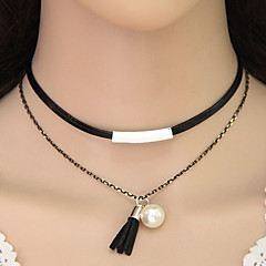 Fashion Simple Metal Tube Tassel Choker Necklaces Jewelry Party Tassels