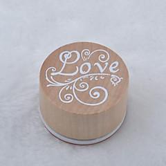 vintage floral μοτίβο λέξη στρογγυλό ξύλινο σφραγίδα (αγάπη)
