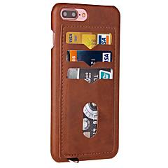 För Korthållare fodral Skal fodral Enfärgat Hårt PU-läder för Apple iPhone 7 Plus iPhone 7 iPhone 6s Plus/6 Plus iPhone 6s/6