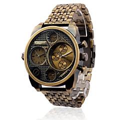 Męskie Sportowy Wojskowy Modny Zegarek na nadgarstek Kwarcowy Dwie strefy czasowe Skóra naturalna Pasmo Postarzane Na co dzień