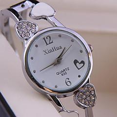 Dames Modieus horloge Kwarts Legering Band Heart Shape Bangle armband Zilver