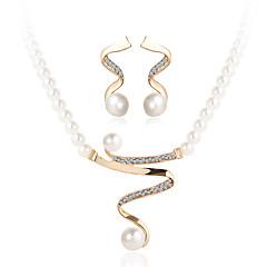 Juego de Joyas Cristal Joyería de Lujo joyería de disfraz Perla Perla Artificial Brillante Diamante Sintético Legierung 1 Collar 1 Par de