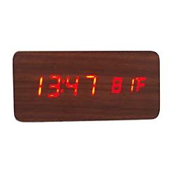 raylinedo® uusin design muoti ruskea puu punainen led valo puinen digitaalinen herätys -aika lämpötila päivämäärä näyttö - ääni- ja