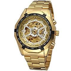 رجال ساعات فاشن / ووتش الميكانيكية / ساعة المعصم داخل الساعة أتوماتيك نقش جوفاء ستانلس ستيل فرقة ذهبي علامة تجارية