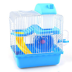 Rodents Cages Multifunctional Hamster Cottage Metal Plastic Blue Brown Pink