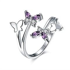 טבעות זירקונה מעוקבת יומי קזו'אל תכשיטים סגסוגת זירקון מצופה כסף נשים טבעת 1pc,מתכוונן כסף