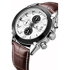 MEGIR Heren Sporthorloge Modieus horloge Polshorloge Kwarts Echt leer Band Vintage Vrijetijdsschoenen Luxueus Meerkleurig
