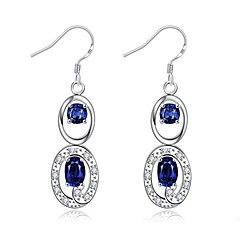 Drop Earrings Crystal AAA Cubic Zirconia Zircon Cubic Zirconia Copper Silver Plated Glass Silver Purple Red Blue Jewelry Daily Casual1